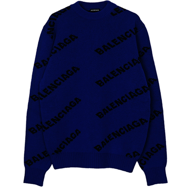 WOOL LOGO JACQUARD KNIT/BLUE/BLACK