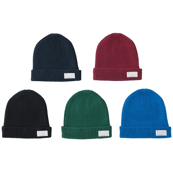 KNIT BEANIE/BURGUNDY/BLUE/NAVY/GREEN (COTTON)