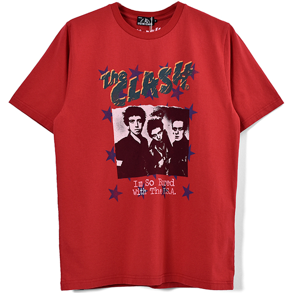 THE CLASH/I'M SO BOARD W THE USA pt Tシャツ/RED