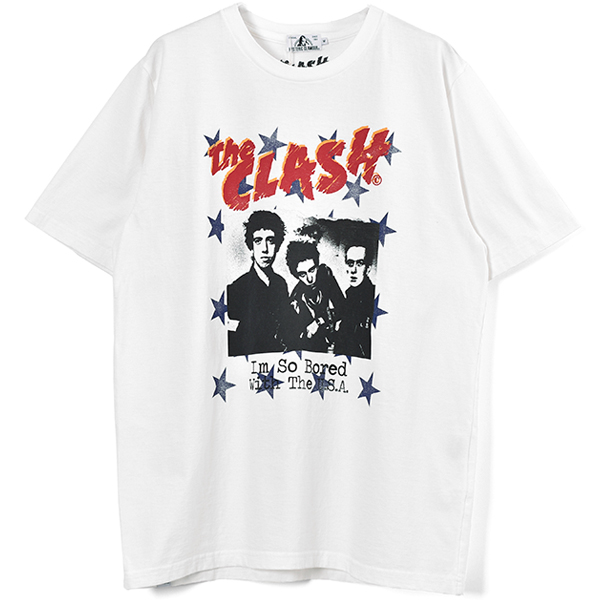 THE CLASH/I'M SO BOARD W THE USA pt Tシャツ/WHITE