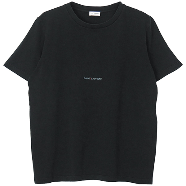 DESTROYED SAINT LAURENT LOGO T-SHIRT/DARK GREEN