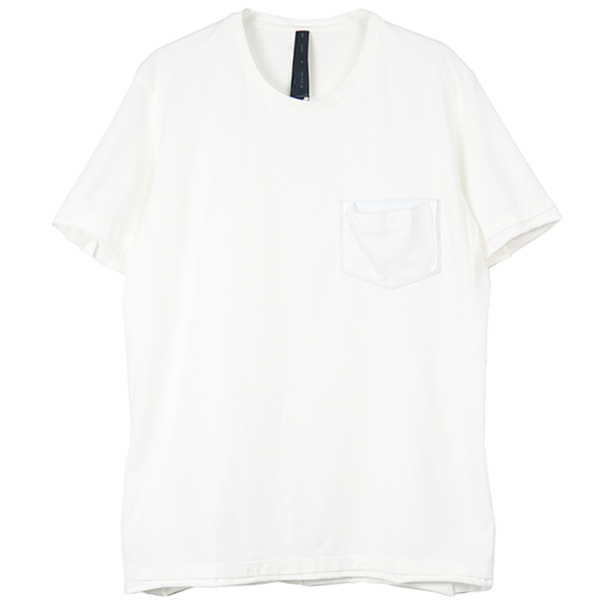 leather pocket-T(crew neck)/WHITE×WHITE