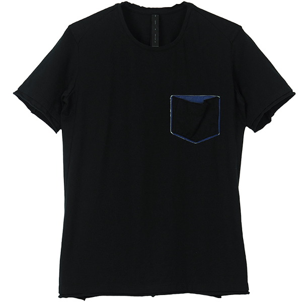leather pocket-T(crew neck)/BLACK×BLUE