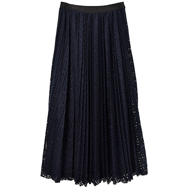 Basket Lace Pleats Skirt/ネイビー