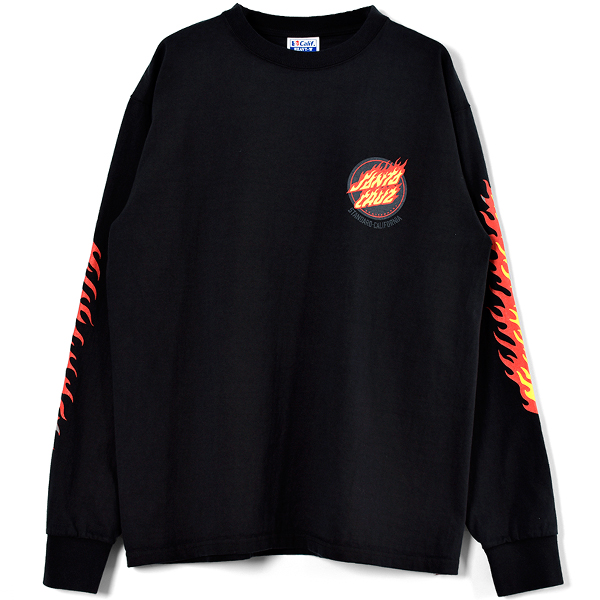 SANTA CRUZ × SD Flame Logo Long Sleeve T/BLACK