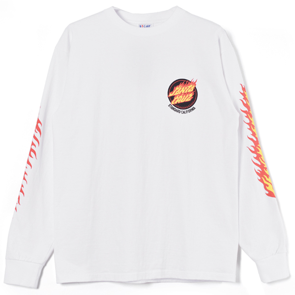 SANTA CRUZ × SD Flame Logo Long Sleeve T/WHITE