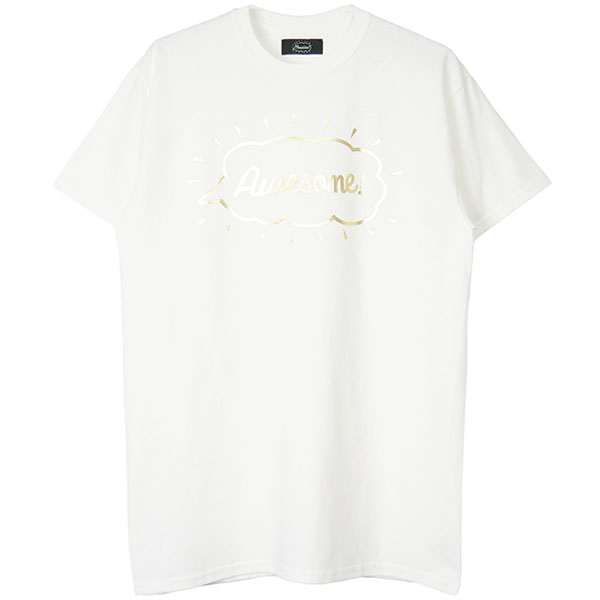 Tee -Awesome-/white×gold