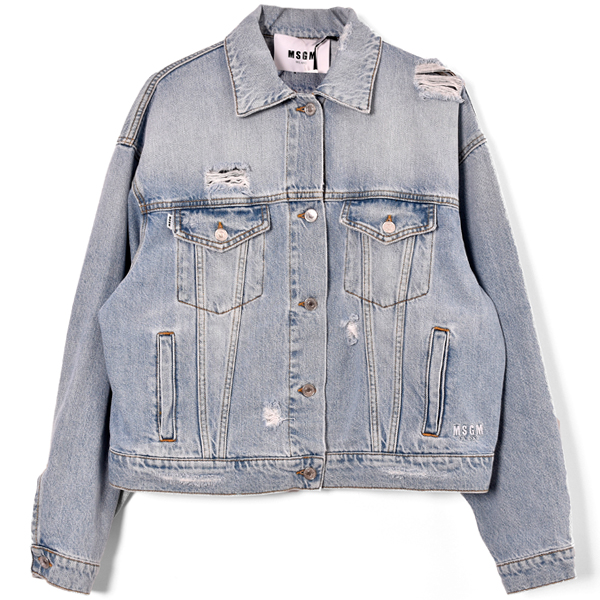 USED EFFECT DENIM JACKET WITH PRINT ON THE BACK MSGM/LIGHTBLUE