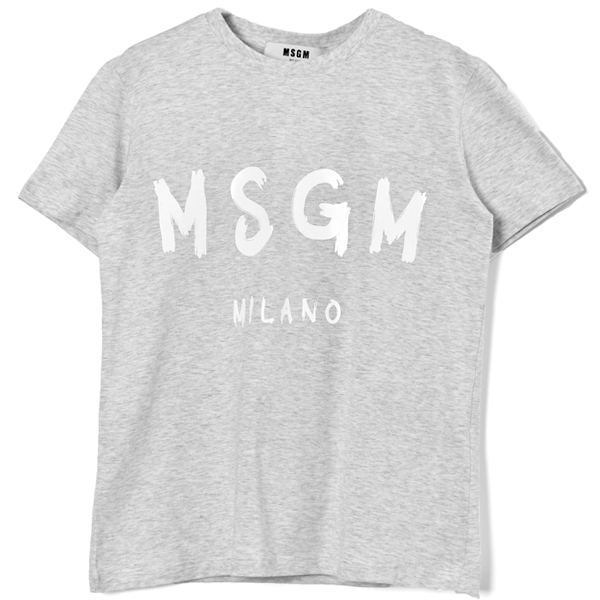 BRUSHED LOGO SHORT SLEEVE T-SHIRT MSGM/GRAY