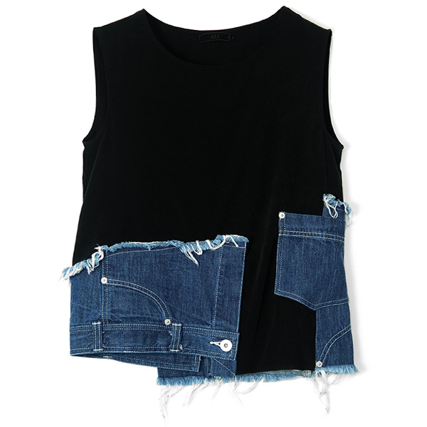 REMAKE DENIM COMBINATION TOPS/BLACK