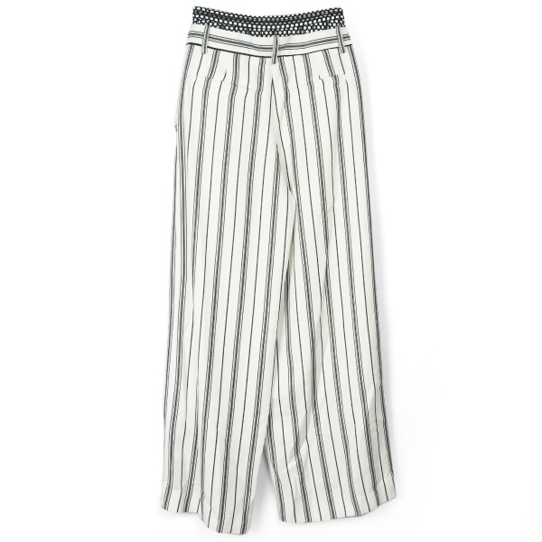 STRIPE MESHWAIST PANTS/WHITE