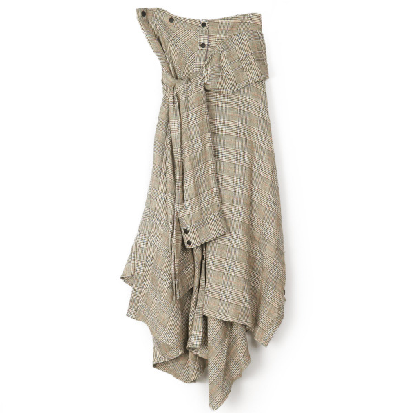 LINEN GLEN CHECK SKIRT/BROWN