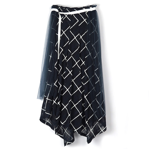 SHEER BIAS CHECK SKIRT/NAVY