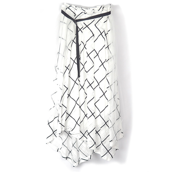 SHEER BIAS CHECK SKIRT/WHITE