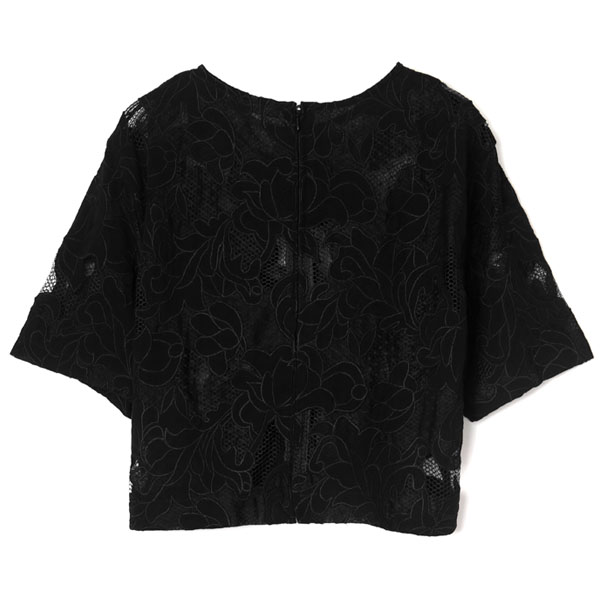 MESH EMBROIDERY TOPS/BLACK