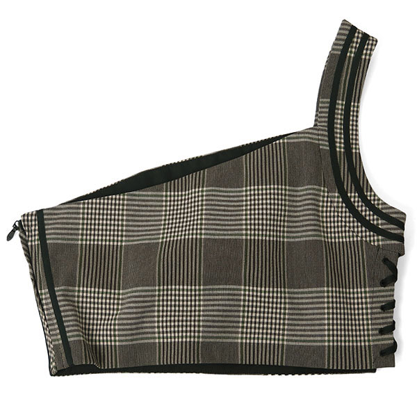 ONE SHOULDER CHECK BUSTIER/GRAY