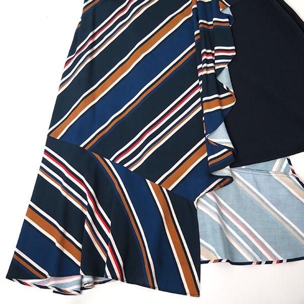 BIAS STRIPE SKIRT/NAVY