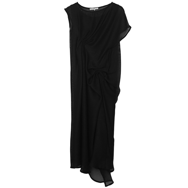 MESH DRAPE DRESS/BLACK