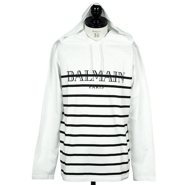 HOODED, STRIPED COTTON T-SHIRT WITH LOGO PRINT