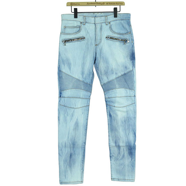 SLIM-FIT COTTON DENIM BIKER JEANS