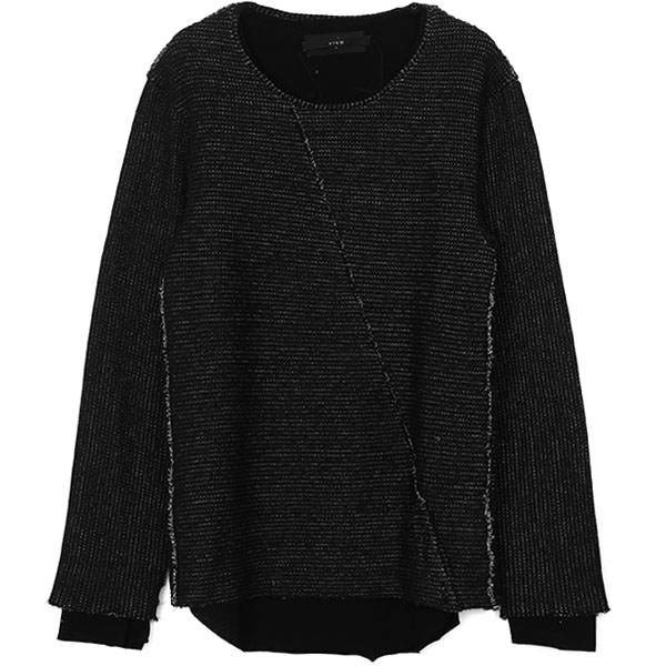 LAYERED SLASH KNIT /BLK×BLK