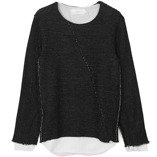 LAYERED SLASH KNIT /BLK×WHT