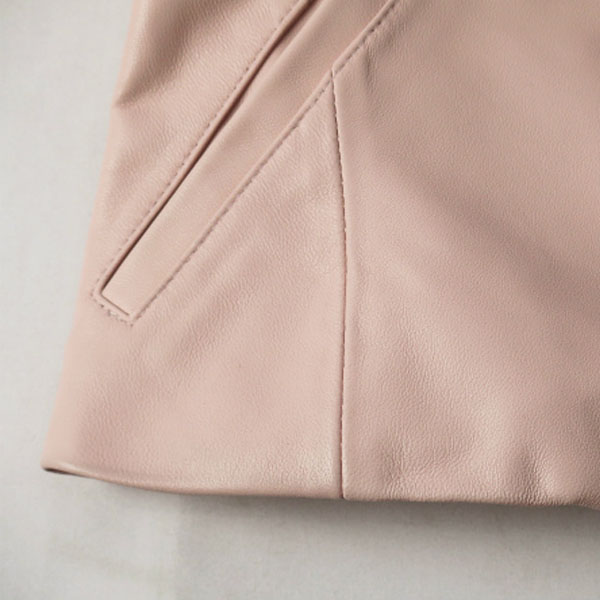 DRAPE LEATHER JACKET/LIGHT PINK