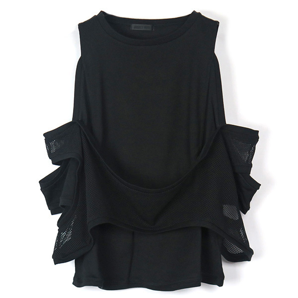 MESH COMBI OFF SHOULDER TOP/BLACK