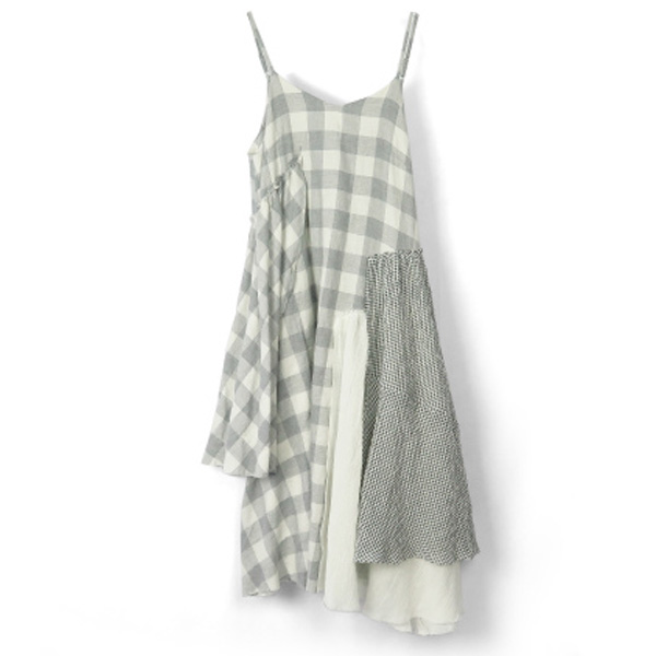 CHECK COMBI CAMISOLE DRESS/WHITE
