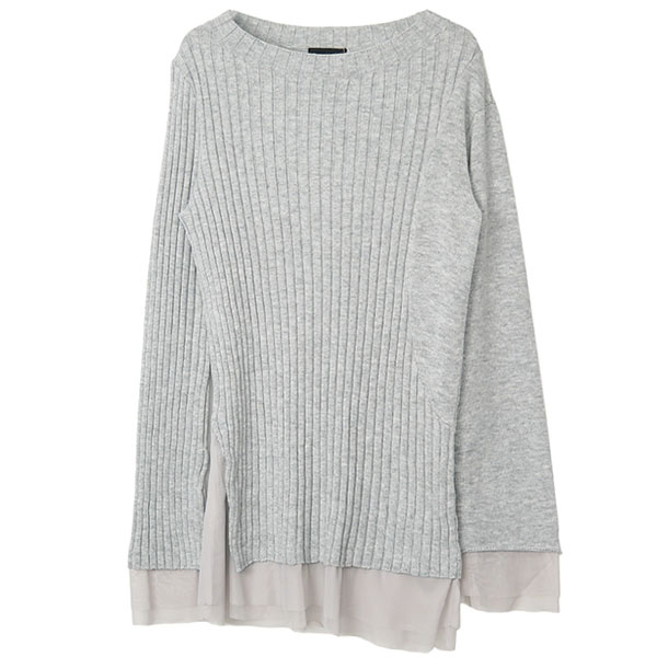 TULLE COMBI KNIT /GRAY