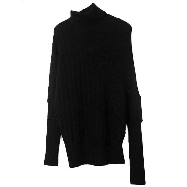CABLE DRAPE KNIT TOPS/BLACK