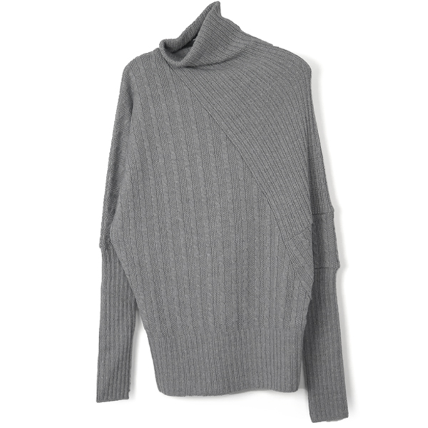 CABLE DRAPE KNIT TOPS/GRAY