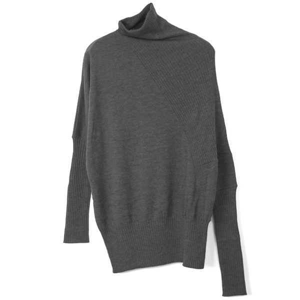 RIB DRAPE KNIT TOPS/C.GRAY