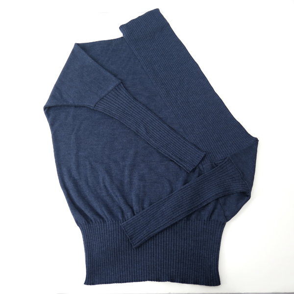 RIB DRAPE KNIT TOPS/NAVY