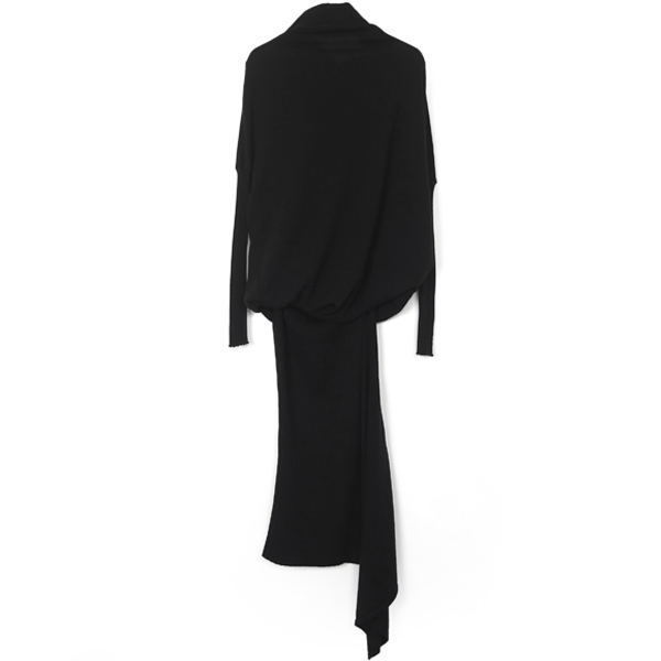 RIB DRAPE KNIT ONE-PIECE/BLACK