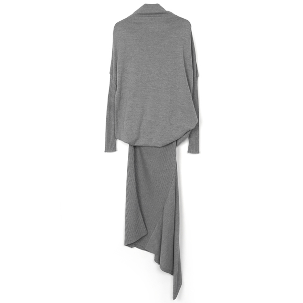 RIB DRAPE KNIT ONE-PIECE/C.GRAY