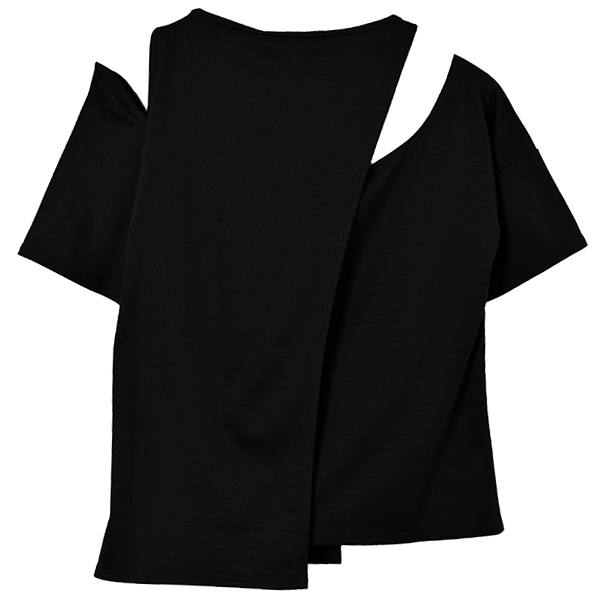 COMBI SLIT T-SHIRTS/BLACK