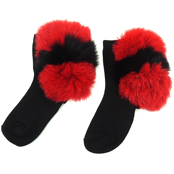 FUR SOX/RED×BLACK
