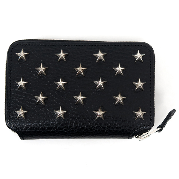 SHORT ZIP WALLET(star studs)/BLACK