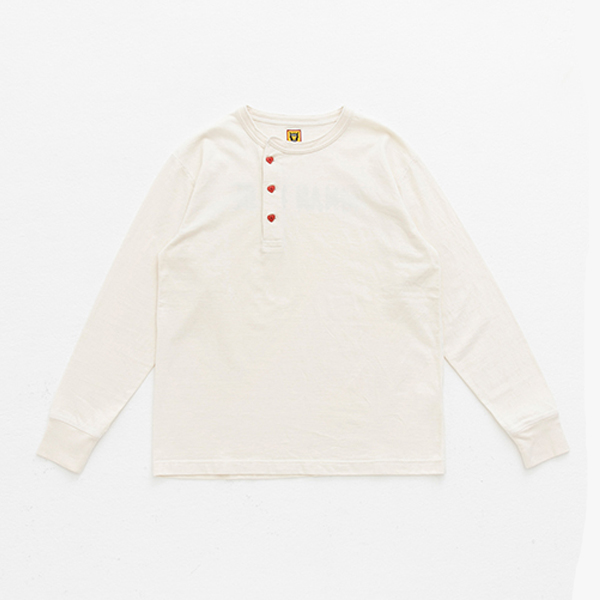 HENLEY NECK LONG T-SHIRT/WHITE