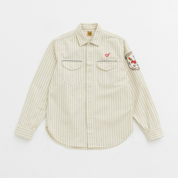 STRIPE WORK SHIRT/WHITE