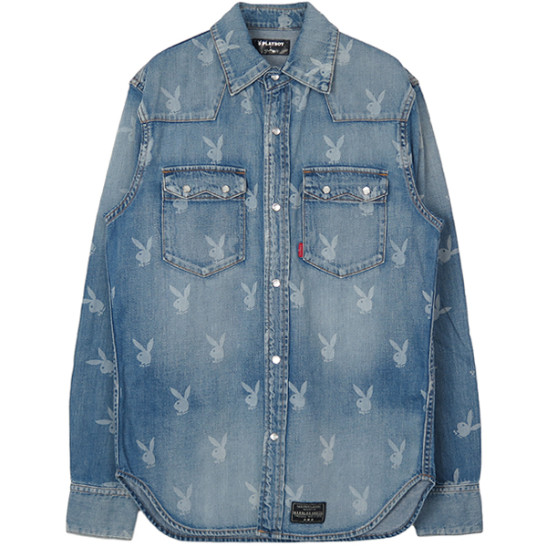 PLAY BOY DENIM SHIRT/INDIGO(MSH-A18PB01)