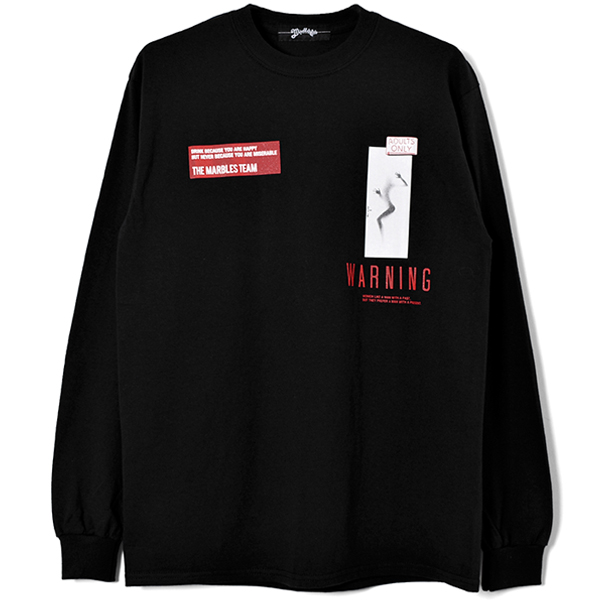 L/S TEE (WARNING)/BLACK