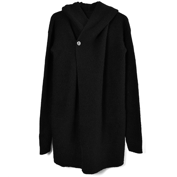FISHERMAN HOODED CARDIGAN/BLACK