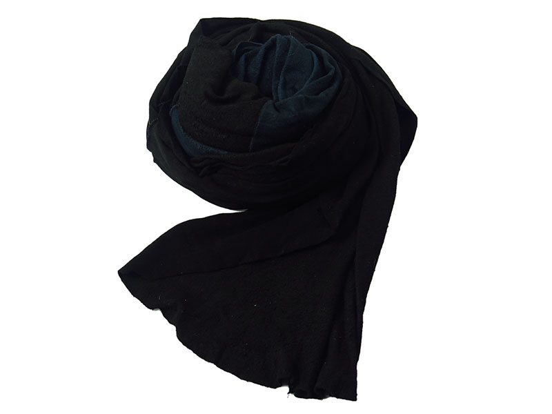 new rough out scarf-black×dark blue-
