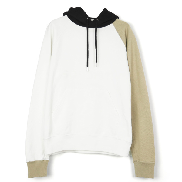 multi color pullover hoodie./white×beige×black