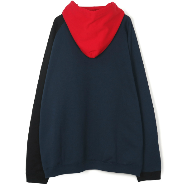 multi color oversized pullover hoodie./navy×black×red