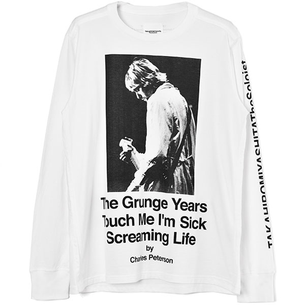 Charles Peterson photo l/s tee. -Kurt Cobain-/white