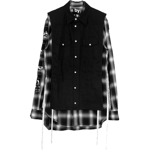 180°shirt type Ⅱ/black×o.white/black