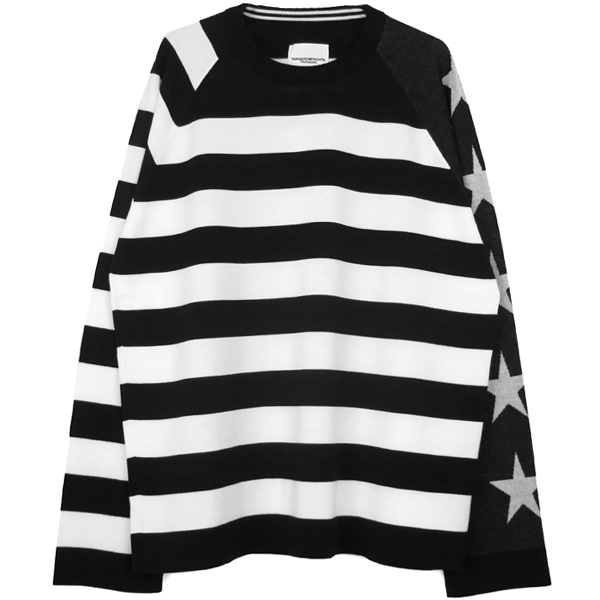 star&stripes sweater./black×white